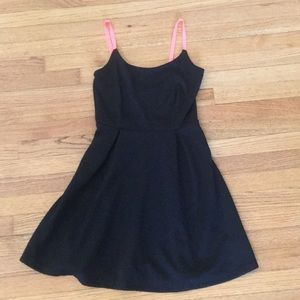 Black dress with neon pink/orange straps